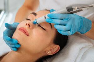 Woman having a hydrafacial treatment