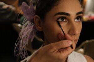 mascara on woman