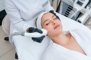 woman receiving a laser resurfacing treatment